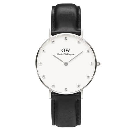 DW Daniel Wellington 施華洛世奇水晶黑色皮革腕錶-銀框/34mm(0961DW)