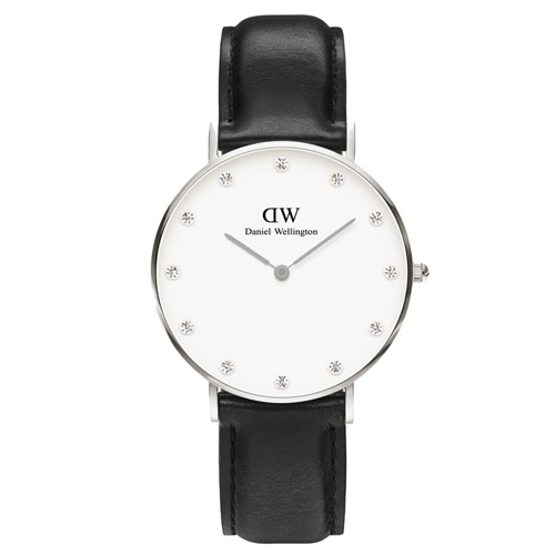 DW Daniel Wellington 施華洛世奇水晶黑色皮革腕錶~銀框34mm^(09
