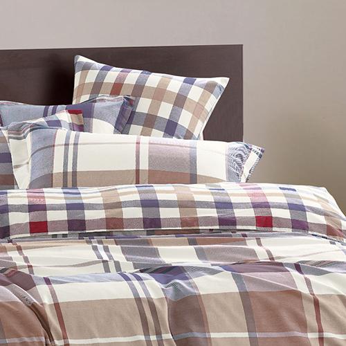 【Betrise】雙人-環保印染防蹣抗菌精梳棉四件式兩用被床包組-(悠閒格韻)
