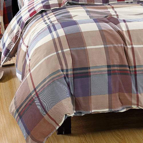 【Betrise】加大-環保印染防蹣抗菌精梳棉四件式兩用被床包組-(悠閒格韻)