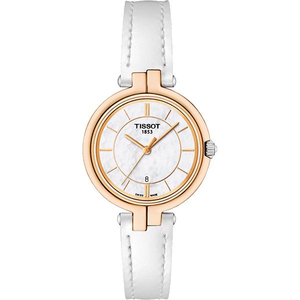 TISSOT 天梭 Flamingo 純粹石英女錶~珍珠貝x白26mm T09421026