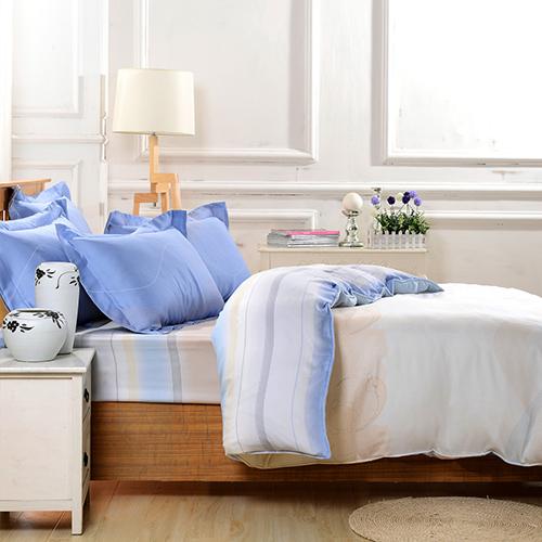 【Betrise】休閒時刻-環保印染德國防螨抗菌100%天絲四件式兩用被床包組-雙人