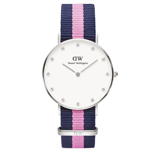 DW Daniel Wellington 施華洛世奇水晶藍粉紅帆布腕錶~銀框34mm^(0