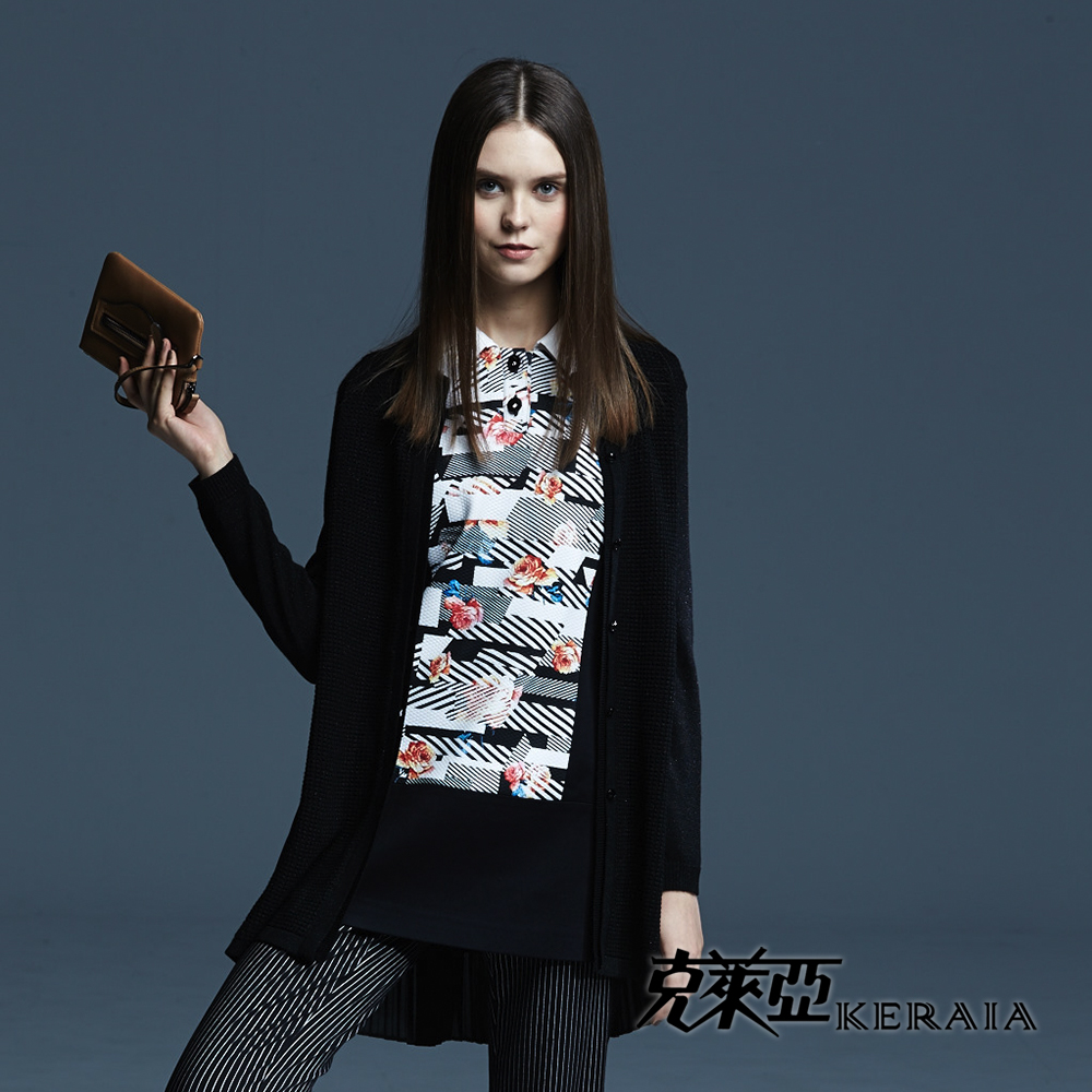 【克萊亞KERAIA】幾何條紋印花長版上衣
