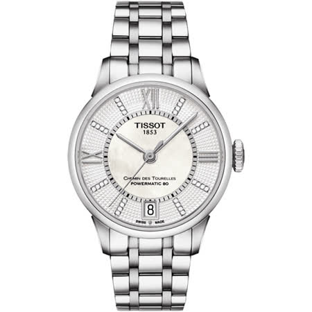 TISSOT 天梭 杜魯爾 Powermatic 80 真鑽機械腕錶-32mm T0992071111600