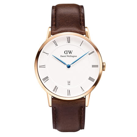 DW Daniel Wellington Dapper優雅時尚皮革腕錶-金框/38mm(1103DW)