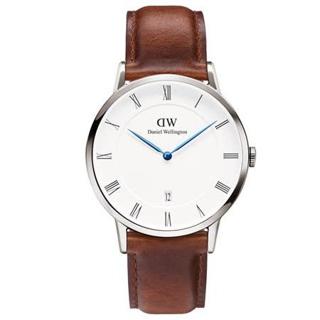 DW Daniel Wellington Dapper時尚皮革腕錶-銀框/38mm(1120DW)
