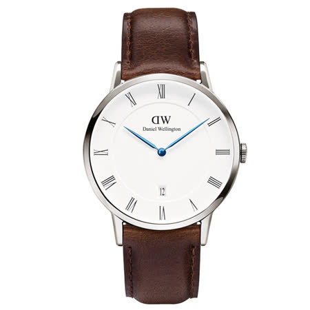 DW Daniel Wellington Dapper時尚皮革腕錶-銀框/38mm(1123DW)