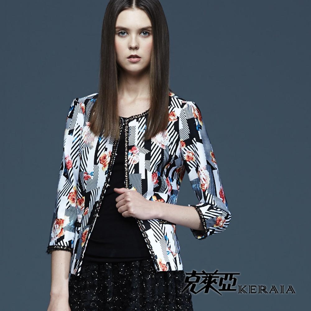 【克萊亞KERAIA】幾何條紋印花短版外套