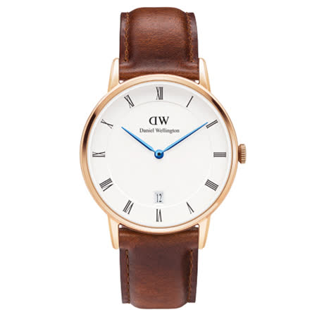 DW Daniel Wellington Dapper時尚棕色皮革腕錶-金框/34mm(1130DW)
