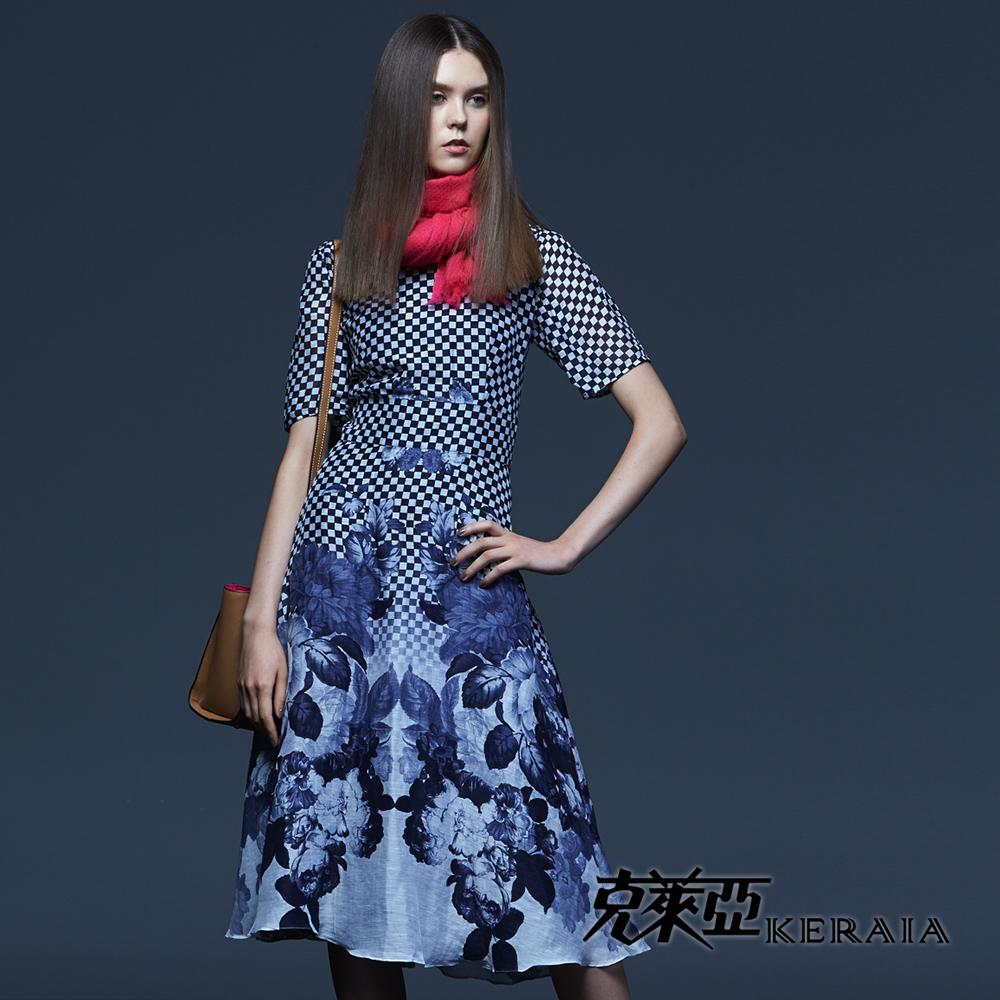 【克萊亞KERAIA】印花格紋拚接絲質洋裝