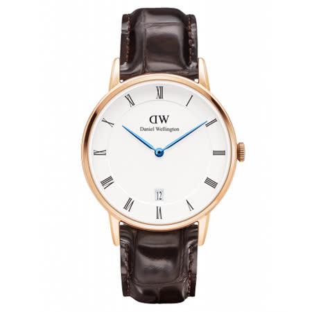 DW Daniel Wellington Dapper時尚深啡鱷魚紋皮革腕錶-金框/34mm(1132DW)