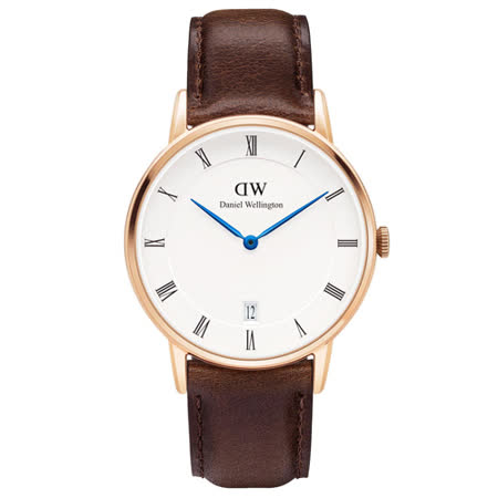 DW Daniel Wellington Dapper時尚棕色皮革腕錶-金框/34mm(1133DW)