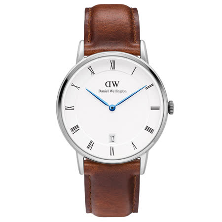 DW Daniel Wellington Dapper時尚棕色皮革腕錶-銀框/34mm(1140DW)