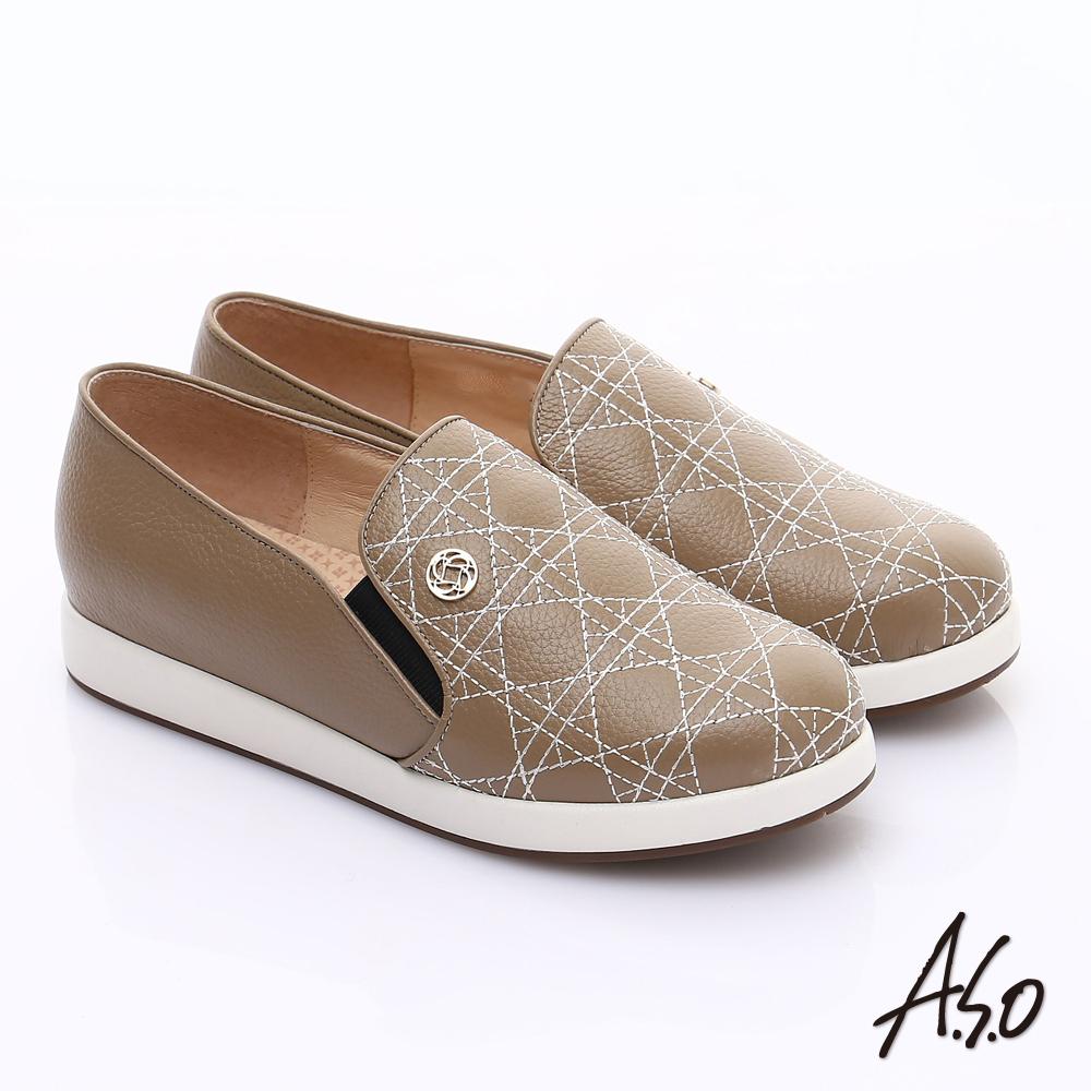 【A.S.O】假期休閒 全真皮裝飾線條奈米休閒鞋(卡其)