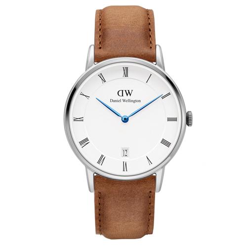 DW Daniel Wellington Dapper 淺棕色皮革腕錶~銀框34mm^(D