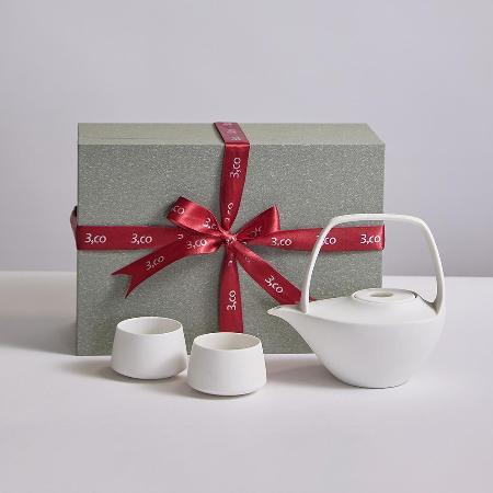 【3,co】水波提樑壺禮盒組(4件式) - 白