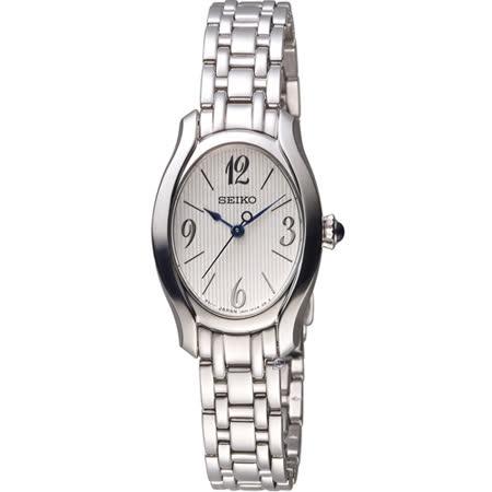 精工錶 SEIKO 小資完美鵝蛋型時尚腕錶 1N01-0SE0S 銀 SXGP55P1