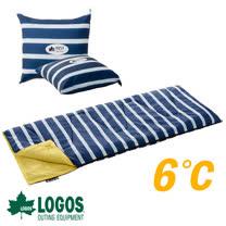 【日本 LOGOS】ROSY 6℃丸洗藍白靠墊中空棉睡袋_72600970