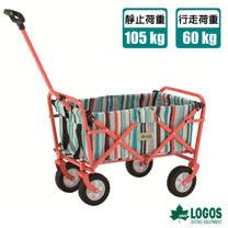 【日本 LOGOS】多用途四輪迷你條紋裝備拖車.置物推車_84720713