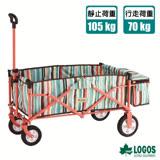 【日本 LOGOS】 耐重型多用途四輪條紋裝備拖車.置物推車_84720712