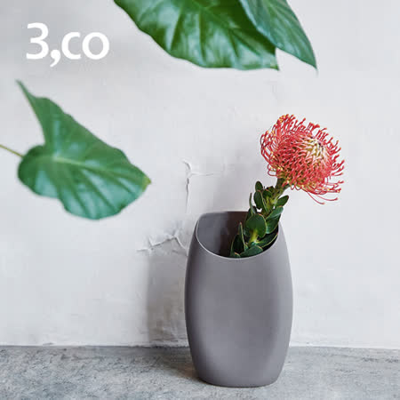 【3,co】月型口扁平花器(8號) - 灰