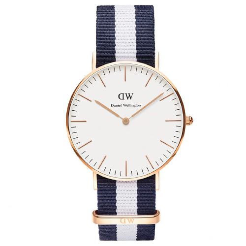 DW Daniel Wellington 藍白帆布錶帶~金框36mm^(0503DW^)