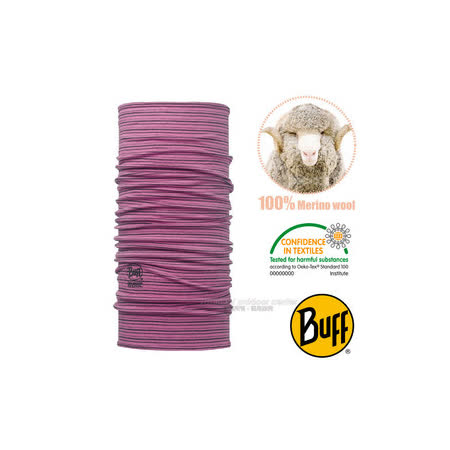 【西班牙 BUFF】頂級 Merino 超輕量超彈性恆溫保暖魔術頭巾/可當圍巾_圍脖帽子_113011 莓紫流線