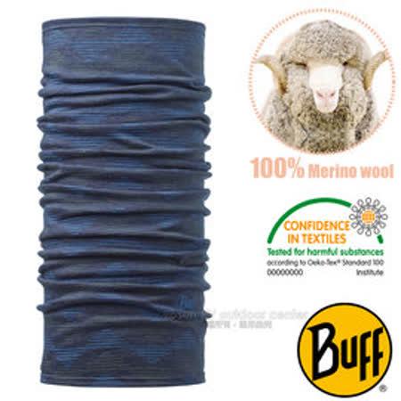 【西班牙 BUFF】頂級 Merino 超輕量超彈性恆溫保暖魔術頭巾/可當圍巾_圍脖帽子_111125 靛藍秩序