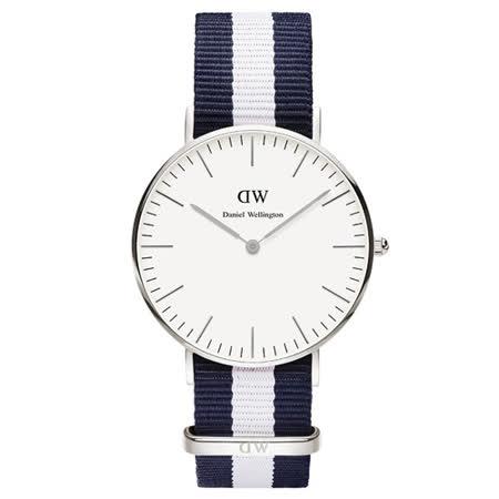 DW Daniel Wellington 經典藍白帆布時尚女錶-銀框/36mm(0602DW)
