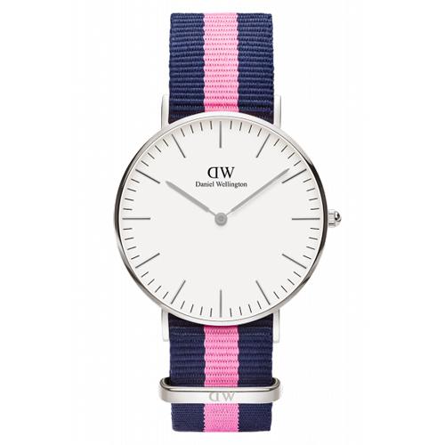 DW Daniel Wellington 藍粉紅帆布 女錶~銀框36mm^(0604DW^