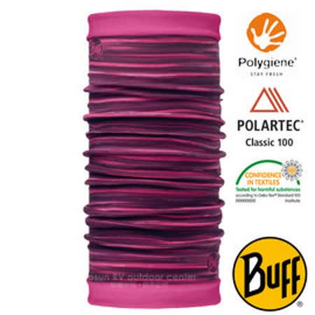 【西班牙 BUFF】POLARTEC 雙面用超彈性保暖魔術頭巾/可當圍巾_圍脖帽子_113139 粉紅流線