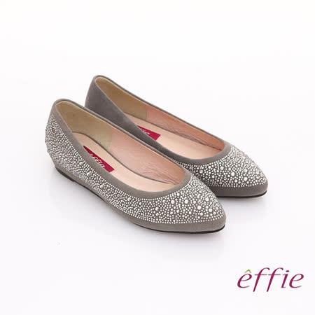 【effie】濃情藝文 水鑽絨面羊皮內增高鞋(灰)