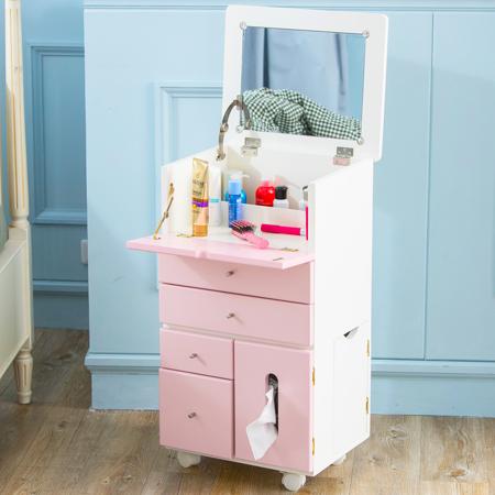 IDEA-艾蜜莉實木活動化妝收納邊桌-加高款