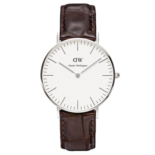 DW Daniel Wellington 深咖啡鱷魚紋腕錶~銀框36mm^(0610DW^