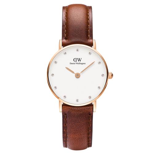 DW Daniel Wellington 施華洛世奇水晶咖啡色皮革腕錶~金框26mm^(0