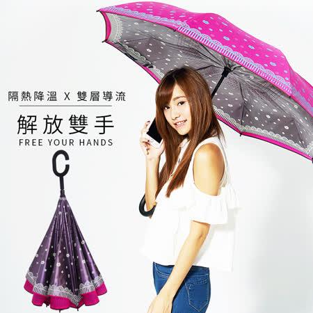 【雙龍牌】HANA色膠弧形雙層反向傘(午夜紫下標區)。全球唯一不透光隔熱降溫反向傘A0809