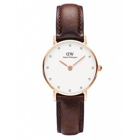 DW Daniel Wellington 施華洛世奇水晶咖啡色皮革腕錶-金框/26mm(0903DW)