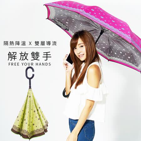 【雙龍牌】HANA色膠弧形雙層反向傘(萊姆綠下標區)。全球唯一不透光隔熱降溫反向傘A0809