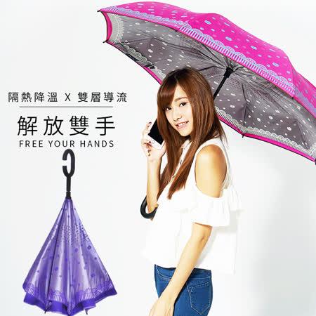 【雙龍牌】HANA色膠弧形雙層反向傘(羅蘭紫下標區)。全球唯一不透光隔熱降溫反向傘A0809