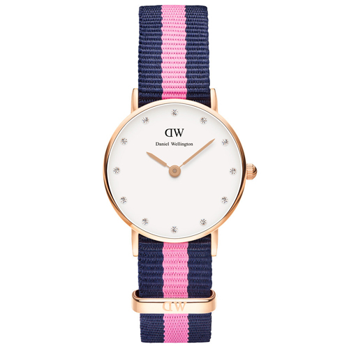 DW Daniel Wellington 藍粉紅帆布水鑽女錶~金框26mm^(0906DW