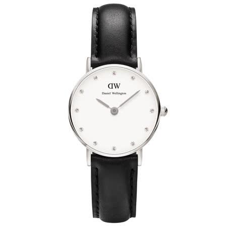 DW Daniel Wellington 時尚水鑽黑色皮革女錶-銀框/26mm(0921DW)