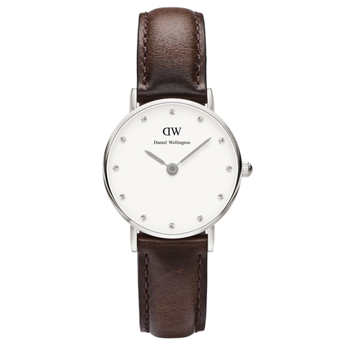 DW Daniel Wellington 施華洛世奇水晶咖啡色皮革女錶~銀框26mm^(0