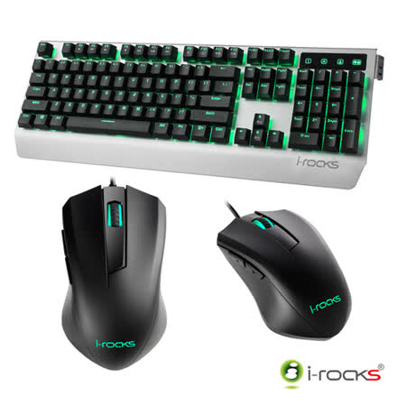 i-Rocks K60M機械式鍵盤-銀黑+M09遊戲滑鼠