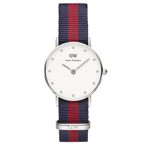 DW Daniel Wellington 藍紅帆布水鑽女錶~銀框26mm^(0925DW^