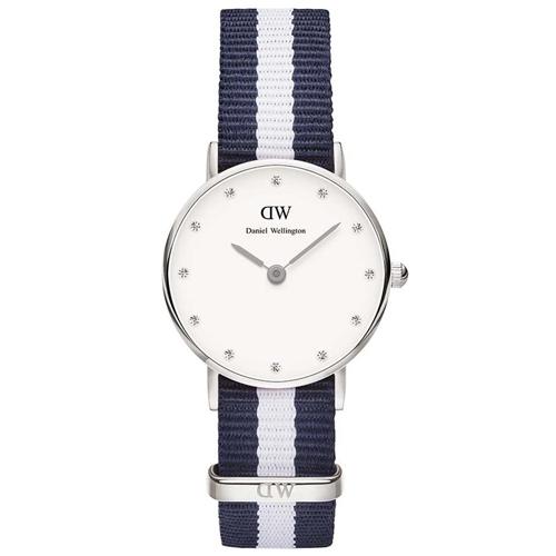 DW Daniel Wellington 藍白帆布水鑽女錶~銀框26mm^(0928DW^