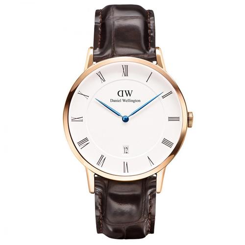 DW Daniel Wellington Dapper深棕鱷魚紋皮革腕錶~金框38mm^(