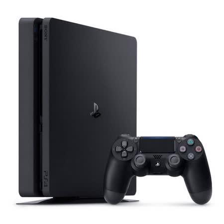 SONY PS4 2017型 500GB 黑主機+DOBE雙手充+副廠黑直立架(SLIM-01BK)+手把專屬果凍套乙入(白)