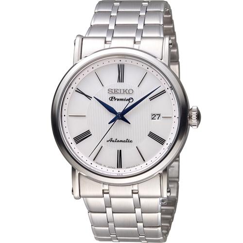 SEIKO 精工 Premier 超薄系列機械腕錶 4R35~01C0S 白 SRPA17