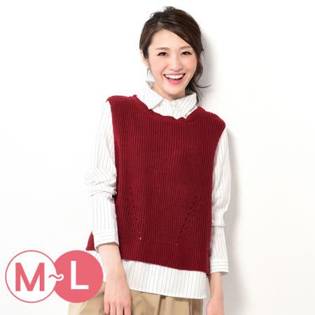 日本Portcros 預購-假兩件針織背心襯衫上衣(共三色/M-L)